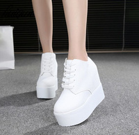Hot Sales New 2017 Autumn Black White Hidden Wedge Heels Casual Shoes Women's white Elevator High heels boots For Women