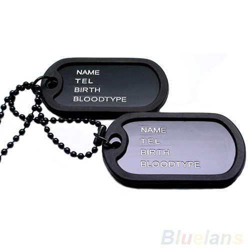 Hot Military Army Style Black 2 Dog Tags Pendant Sweater Chain Necklace Men's Jewelry
