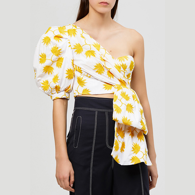 MIAOQING Casual Print Shirt For Women Puff Sleeve Off Shoulder Irregular Crop Tops Female Summer 2019 Fashion Clothes New