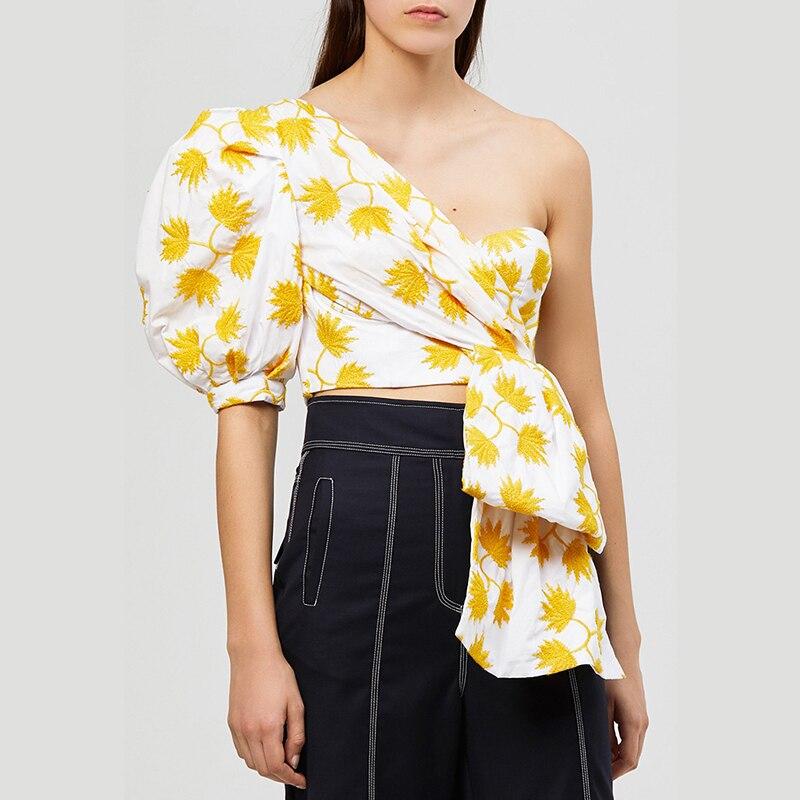47a0c7f46875 MIAOQING Casual Camisa para mujer Puff manga hombro Irregular Tops mujer  Verano de 2019 de moda de ...