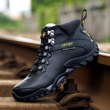 High Top Hiking Shoes Winter sneakers for men Genuine Leather Outdoor sport trekking hiking Shoes brand Plush winter Sneakers