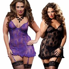 Snelle Levering Zwart Paars Plus Size S-6XL Sexy Lingerie Kant Babydoll Beugel Top Chemise Nachthemd Sexy Ondergoed(China)