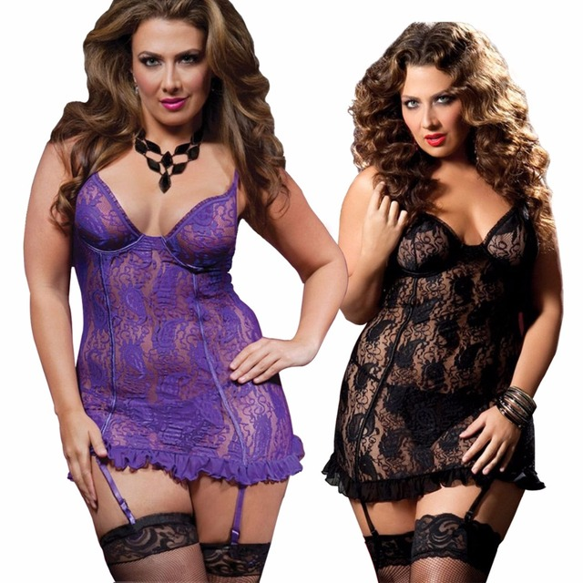 Fast Delivery Black Purple Plus Size S-6XL Sexy Lingerie Lace Babydoll Underwire Top Chemise Nightdress Sexy Underwear