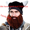 Novelty Men Children Family Handmade Crochet Cartoon Vikings Horn Hat Bearded Face Mask Xmas horn Father and Child Hat DP870771