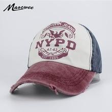 92d8a1308cff8 Recreación lavado retro béisbol NYPD moda sombrero del SnapBack de la gorra  de béisbol hombres mujeres