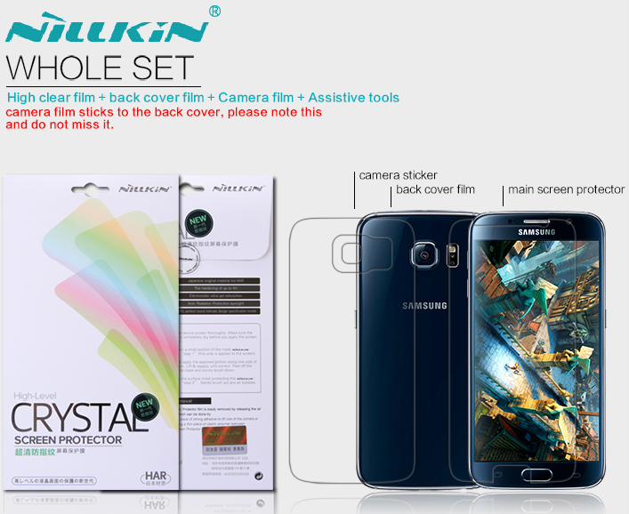 whole unit nillkin Super Clear Anti-fingerprint screen protector for samsung s6 g920f free for back cover + camera film