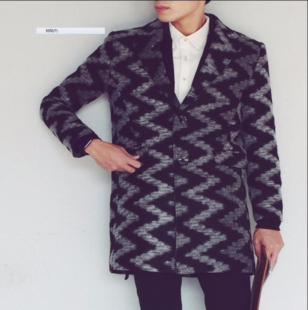2016 осенне зимний шерстяной Тренч модная мужская одежда пальто средней длины с волнистым узором длинные пальто костюмы певицы - 4