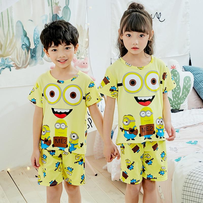 Kids Baby Girls Boy Shorts Cartoon Sleepwear Short Sleeve Pyjamas Nightwear Sets