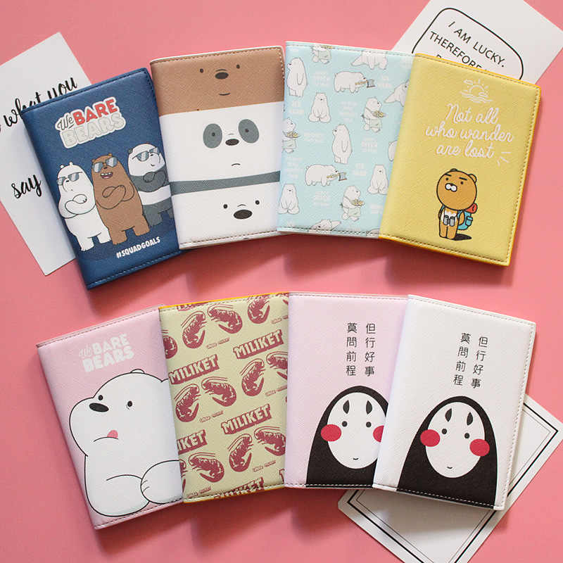Lovers traveling abroad small fresh cute cartoon naked bear passport protective cover waterproof passport bag passport holder