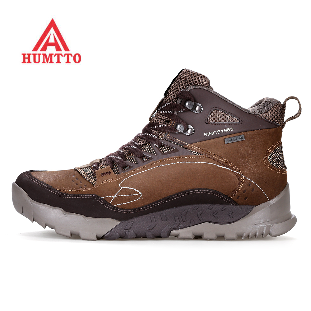 HUMTTO Men's Geunine Leather Outdoor Hiking Trekking Shoes Sneakers Boots For Men Climbing Mountain Hunting Boots Shoes Man все цены