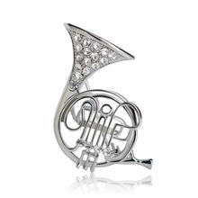French Horn Crystal Brooch (2 Colors)
