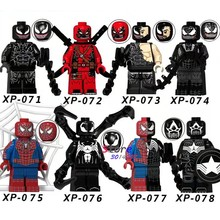 Single Marvel Super Heroes Venom Carnage Deadpool Spider-Man Captain America Wolverine Figures building blocks toys for children(China)
