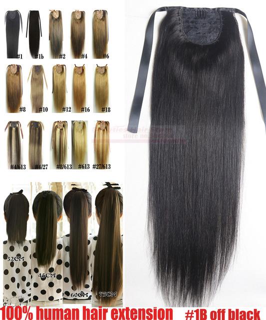 """16 """" 18 """" 20 """" 22 """" 24 """" 26 """" 28 """" 100% brasileiro Remy grampos de cabelo / extensões de cabelo rabo de cavalo rabo de cavalo # 1b off black80g100g120g140g"""