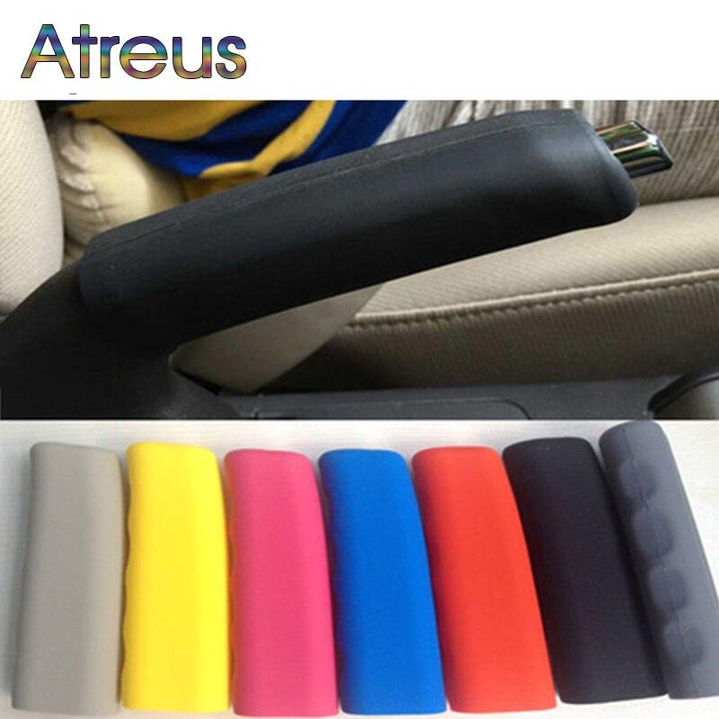 Atreus1pcs de silicona antideslizante freno de mano para carro para Peugeot 307 Peugeot 206, 407 Citroen C4 C5 Honda Civic acuerdo CRV Lada Vesta Perilla de aire acondicionado para coche perilla de Control de calor perilla de botón para Lada Granta accesorios de coche