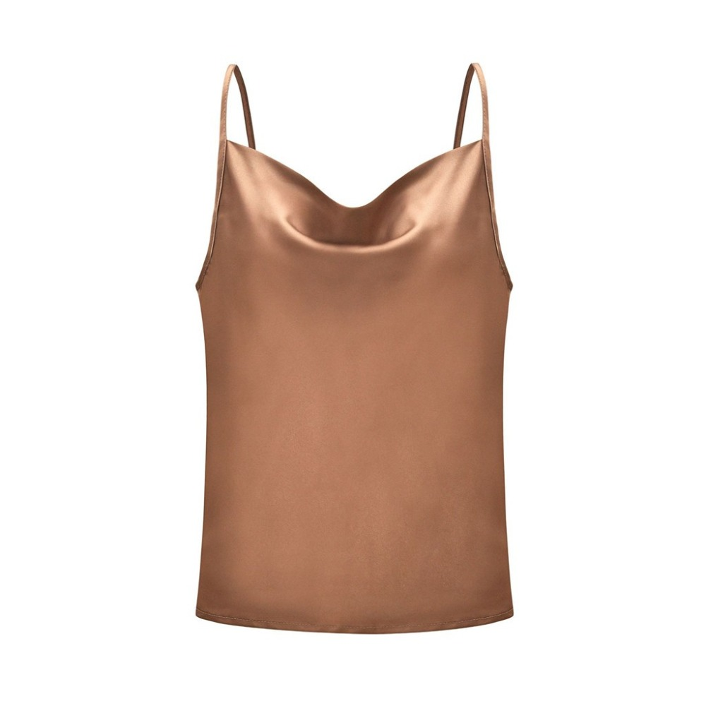 Free ShipüBlouse Women Tops Solid Satin Backless Sexy Camis Shirts Feminino Casual