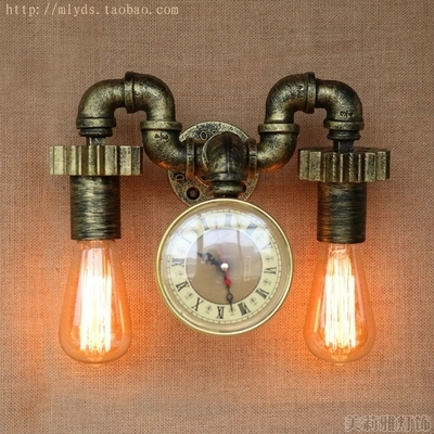 Loft Style Creative Clock Water Pipe Lamp Edison Wall Sconce RH Retro Wall Light Fixtures Indoor Vintage Industrial Lighting