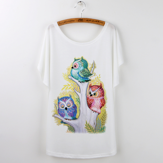 White Owl Batwing Sleeve T-Shirt