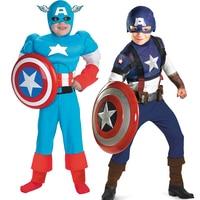 Kids Boys Captain America Clothes Set Fantasia Infantil Pelicula (NO SHILED)