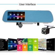 5 «Автомобильный видеорегистратор камеры зеркало 2 объективами видеорегистратор видеокамера Автомобильное зеркало заднего вида камеры спереди и сзади 1080 P g Датчик 3D голос Navigatio