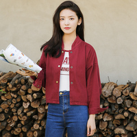 2019 Spring Korean Casual Plus Size Coat Female Vintage Single Breasted Streetwear Solid Color Loose Short Women Jackets QH104