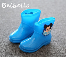 Belbello Baby Girls Rainboots Children Flats Kid Shoes Ankle Boot Cartoon Mouse Slip On Fashion Casual Round Toe Soft Sole Shoes