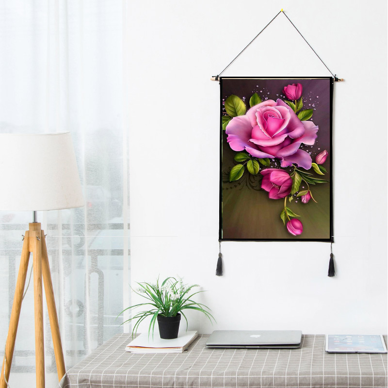 Red Rose Flower Scroll Paintings Plant Artistic Artwork Wall Hanging Picture Photo Poster For Rooms Hotel Store Dorm Decor B39(China)