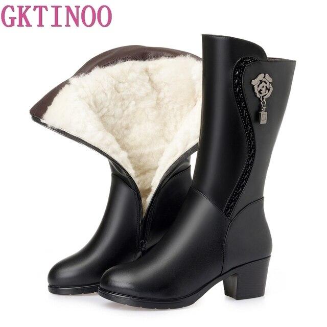 GKTINOO Botas de invierno hasta la rodilla para mujer, calzado cálido con piel de lana en el interior, zapatos de tacón alto de piel suave, Botas de nieve con plataforma