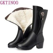 GKTINOO 冬のニーハイブーツウールファーインサイド靴女性ハイヒールソフトレザー靴プラットフォーム雪のブーツの靴 bota Ş