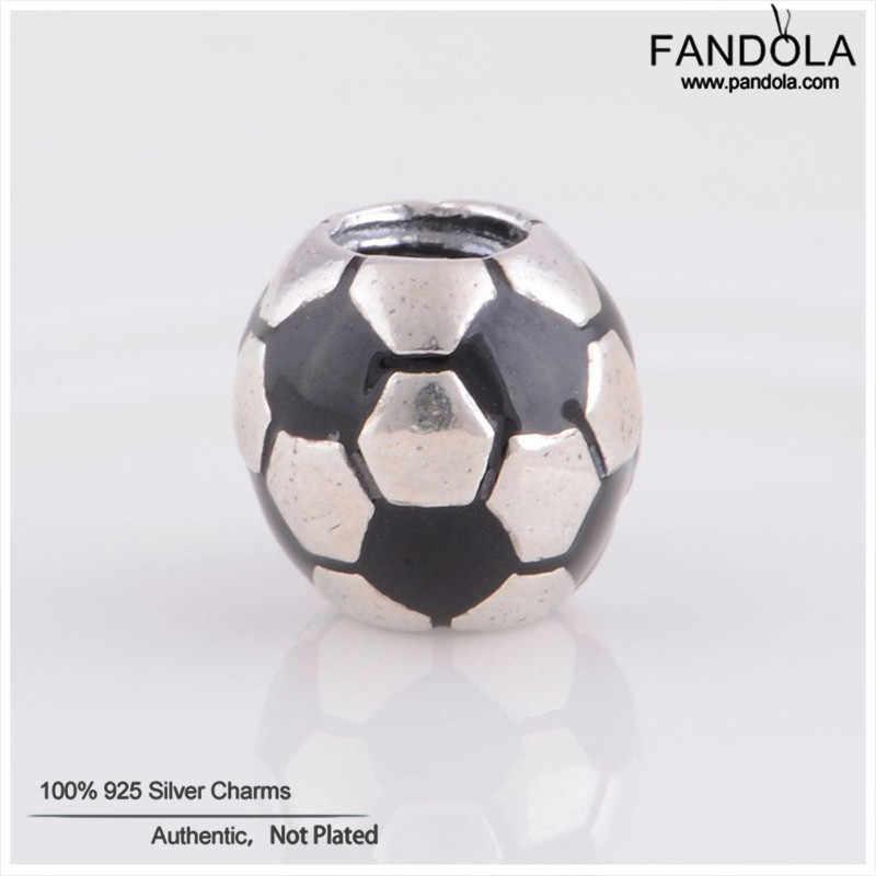 Venta al por mayor 925 Plata de Ley negro esmalte fútbol bola abalorios se adapta a las pulseras del encanto Original fabricación de joyería DIY