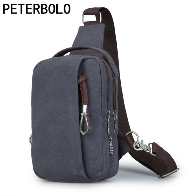 fee23e17e6 Peterbolo Men s Vintage Canvas Shoulder Bag Retro men Crossbody Bag Single- Strap chest Bag