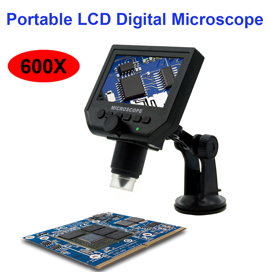 2018 Usb Microscope 600x Usb Electronic Microscope Lcd Digital Video Camera 4.3 Inch Hd Oled Endoscope Magnifying +led Lights 1 600x usb digital electronic microscope 8 led vga microscope with 4 3 hd lcd screen stand for cellphone pcb repair
