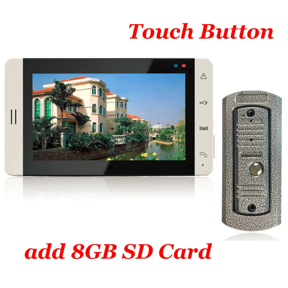 7inch Touch Button Color Monitor 8G SD Card  Video Recording Vandal-proof Metal Casing IR Cam Video Door Phone Intercom System k080tn abhv 8 inch open frame monitor 8 inch wall frame monitor 8 inch metal casing 1024x768 hdmi hd industrial monitor