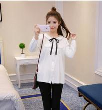 2016 Autumn and winter Maternity new velvet thickening  stand collar shirt  loose bottoming pregnant women blouses HYF82043119