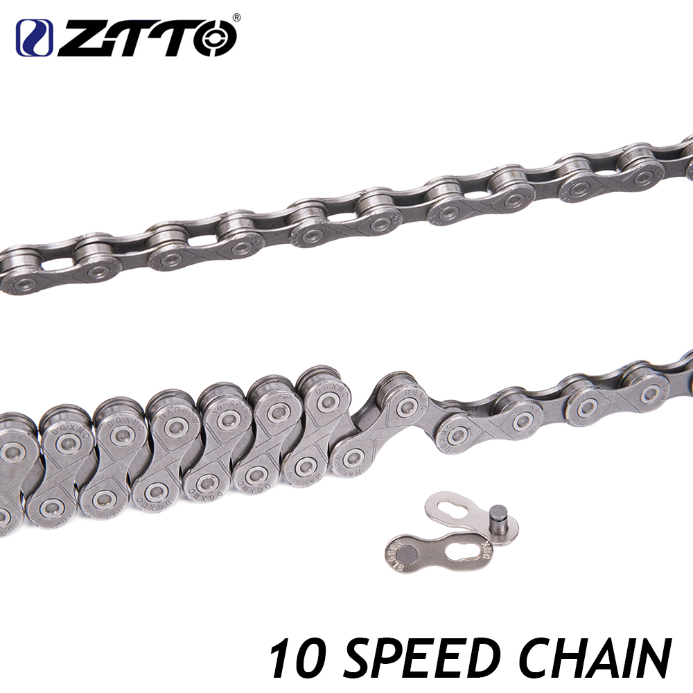 ZTTO MTB Mountain Bike Road Bicycle Parts High Quality Durable Silver Gray Chain 10s 20s 30s 10 Speed For Parts K7 System in Bicycle Chain from Sports Entertainment