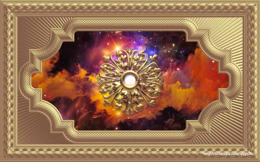 3D plafond peintures murales papier peint personnaliser luxe motif d'or papier peint pour murs 3D plafond papier peint salon chambre