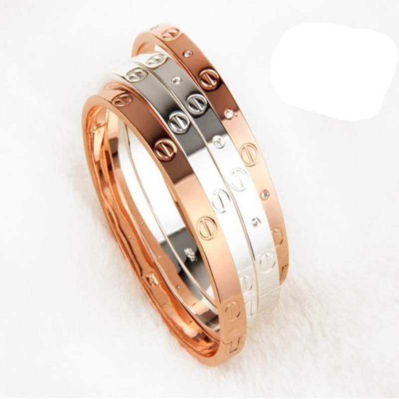 2016 trendy rose gold silver bracelet for women bangle lover bracelet jewelry titanium love bracelet bangle
