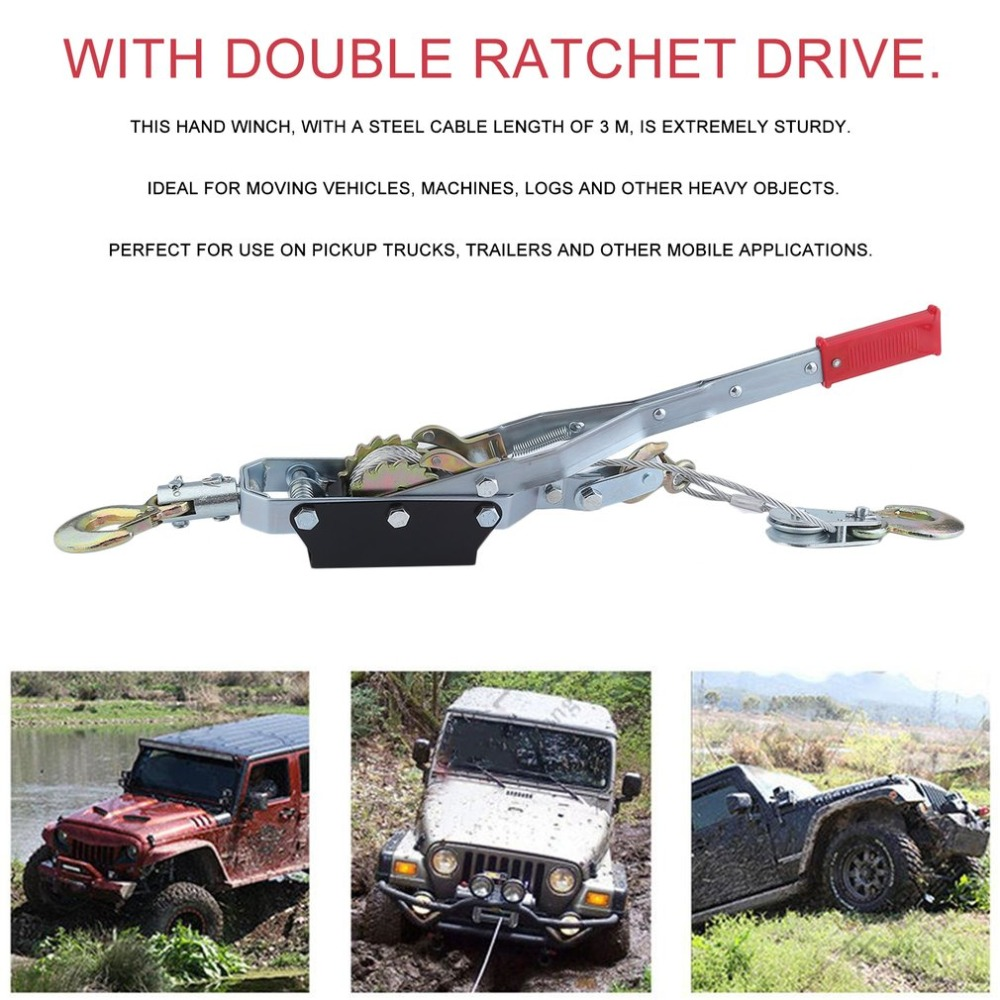 New 4 Ton 3 Hook Cable Puller Heavy Duty Hand Winch With 3M Steel Wire Boat Trailer Lifting Sling Hand Power Lift Winch professional manual winch with strap 1500kg 8 meters boat trailer lifting sling universal car hand power puller new