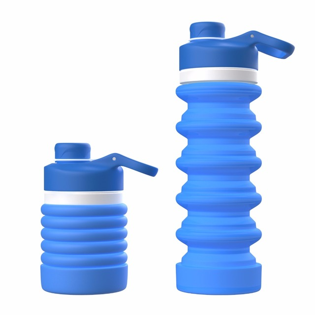 MoKo Spiral Retractable Drinking Bottle,Portable Water Bottle,Leak Proof Light-Weight BPA Free Food Grade Silicone Sports Bottle