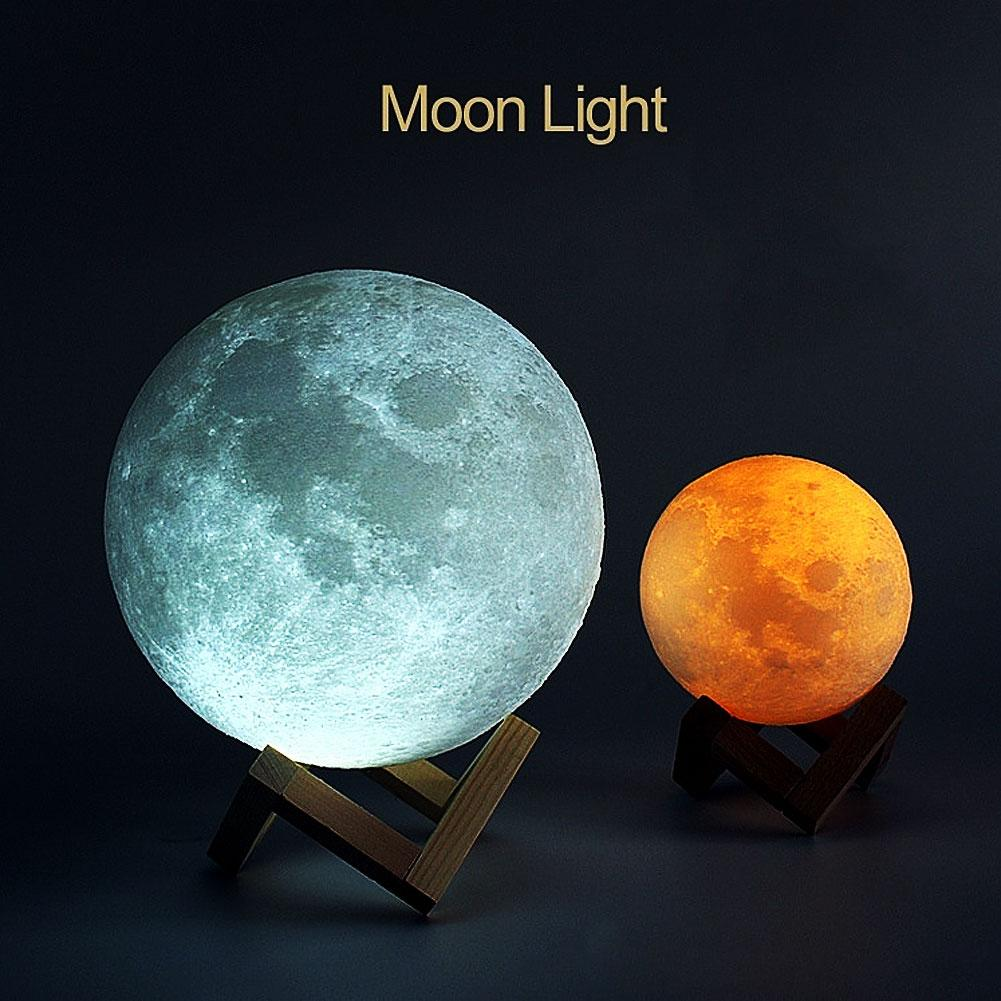 New 3D Print Rechargeable Moon Lamp LED Night Light Creative Touch Switch Moon Light For Bedroom Decoration Birthday For Gifts