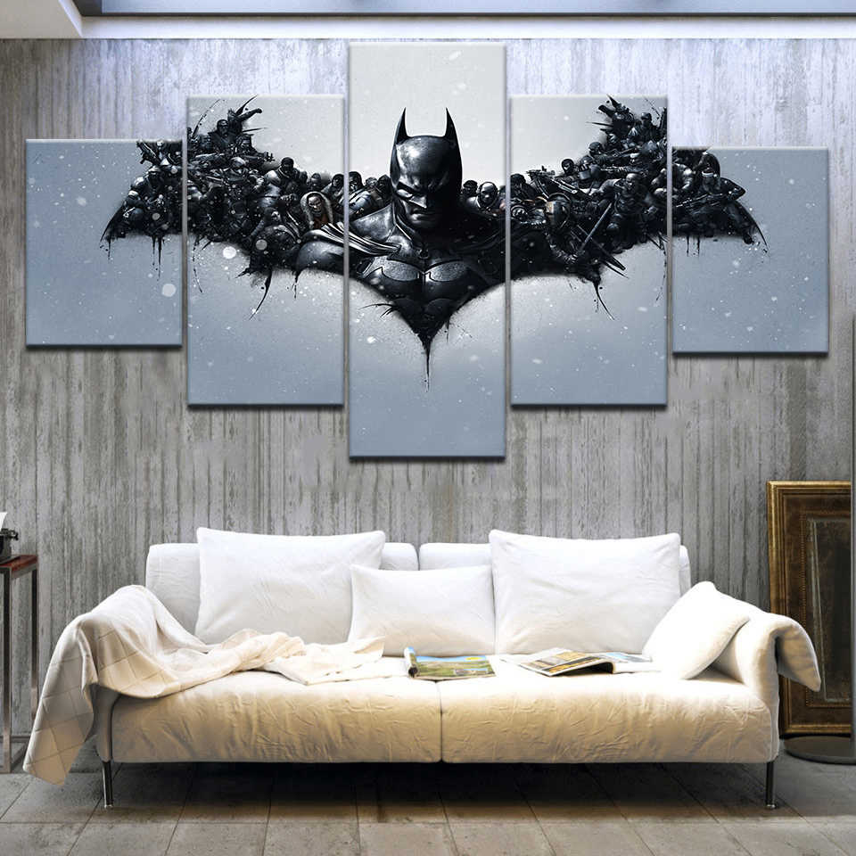 Modern Canvas Painting Frame Wall Art Print Modular Abstract Pictures Home Decor 5 Panel Batman Dark Knight Movie Poster