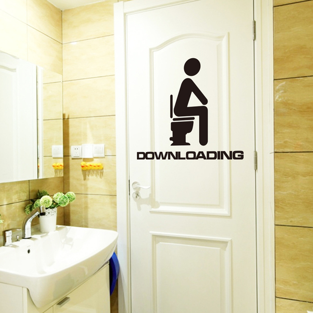 Vinyl Toilet Sticker Funny Quote Walls Sticker Toilet Sign Bathroom  Stickers Door Decoration Downloading Wall Decals