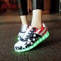 Llevó los zapatos para adultos de las mujeres zapatos casuales zapatos 2016 zapatos de las mujeres caliente de la manera llevó la luz led luminoso