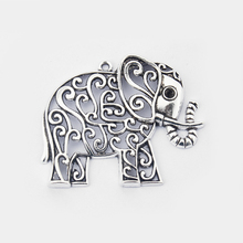 10 pcs Antique Silver Thailands Open Elephant  Charms Pendant Jewlery Findings 68*51mm