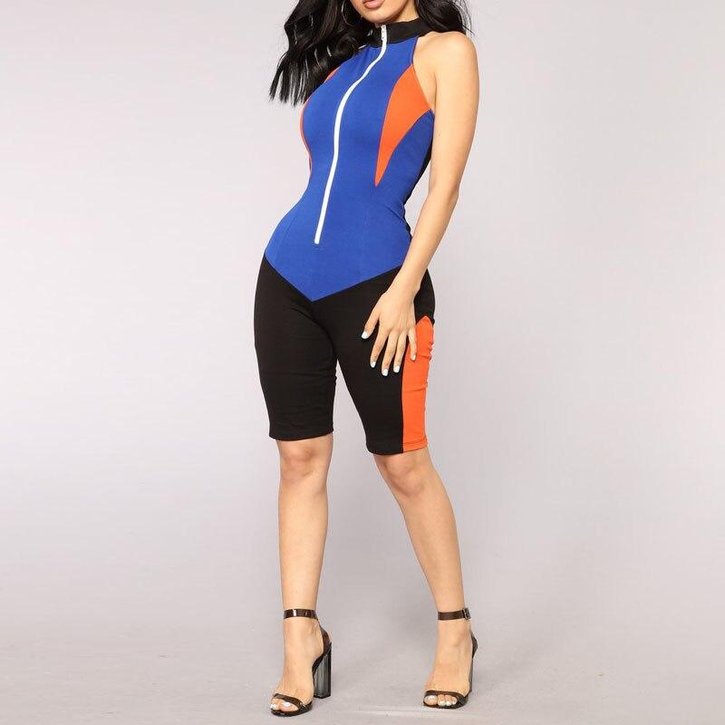 Новый Для женщин сексуальные комбинезоны без рукавов на молнии спереди женский лоскутное ...