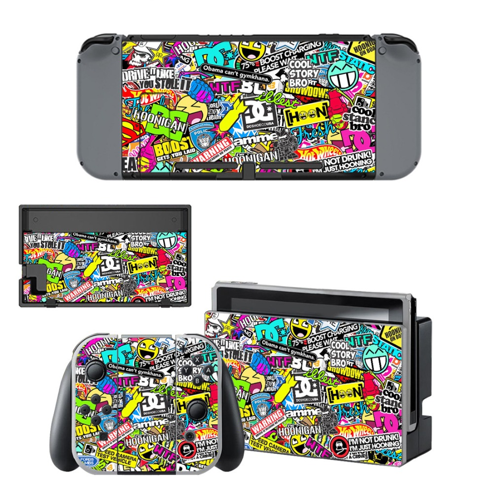 Graffiti Decals Stickers Skin +2Pcs Screen Protector for Nintend Switch Console & Joy-con Controller & Dock Protection Kit