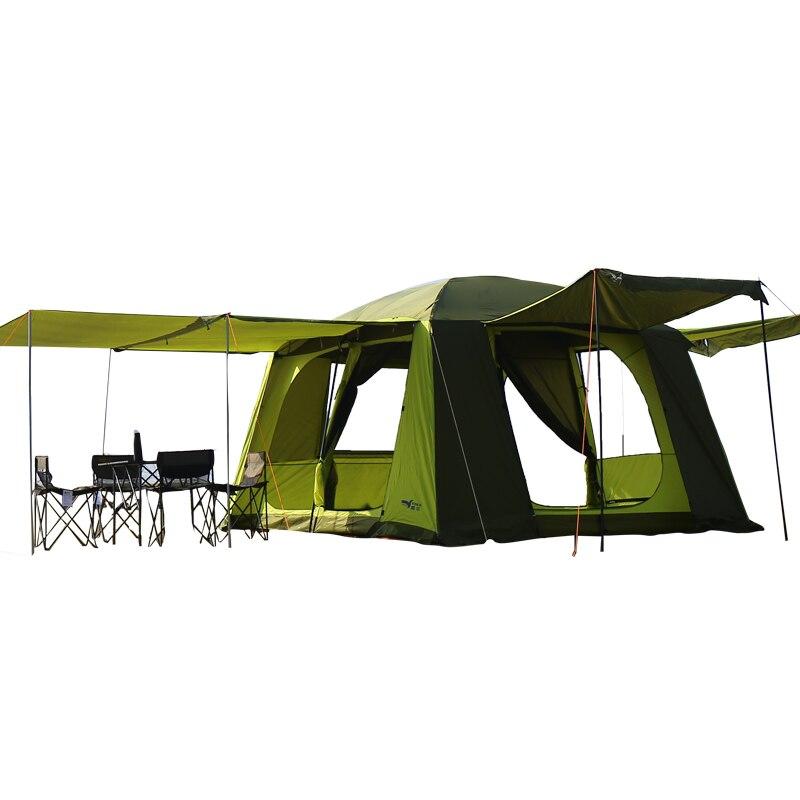 8-10 personne utiliser Ultralarge Barraca Double couche imperméable coupe-vent Camping tente extérieure auto-conduite Tour plage fête tente