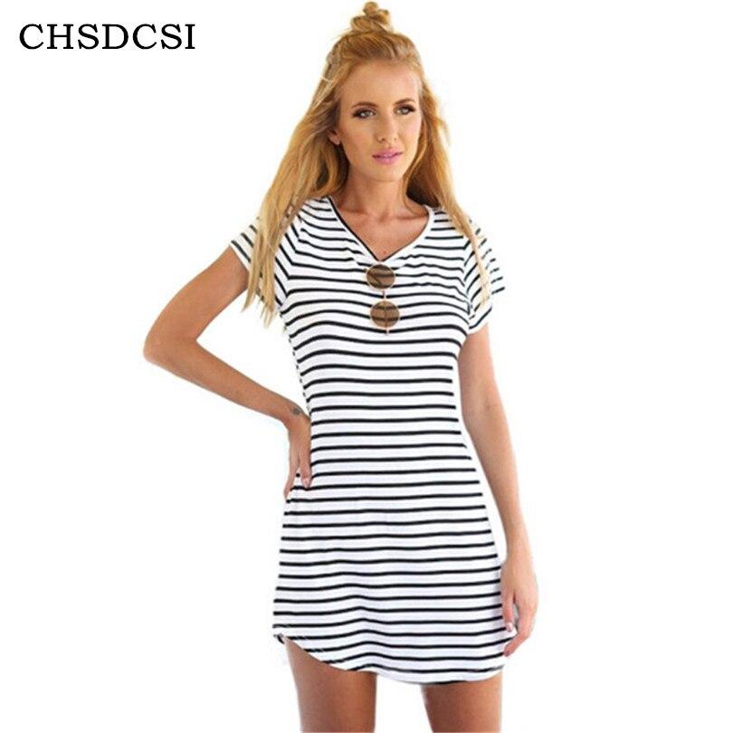 Trabajo femenino vestido de verano flojo negro blanco striped dress mujer alta c