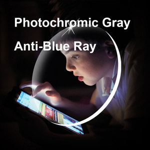Image 1 - 1.56 1.61 1.67 Photochromic Gray Lenses with Anti blue Ray Protection Optical Prescription Glasses Myopia Hyperopia Lenses