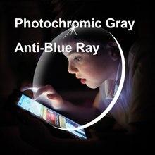 1.56 1.61 1.67 lentes fotocromáticas cinzentas com lentes de miopia hyperopia ópticas dos vidros da prescrição do raio anti azul