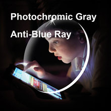 1.56 1.61 1.67 soczewki fotochromowe szare z ochroną przed promieniowaniem niebieskim optyczne okulary na receptę krótkowzroczność soczewki nadwzroczność